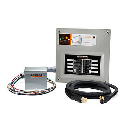 Generac 9855 Homelink 50A Manual Transfer Switch Kit with Aluminum PIB & Cord, 9855
