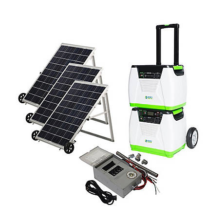 Nature's Generator Platinum PE System - Includes 1 Generator, 1 Power Pod, 3 Solar Panels, & 1 Power Transfer Kit, HKNGPTPE