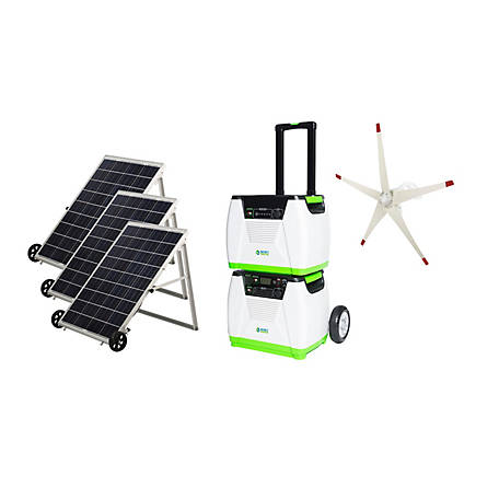 Nature's Generator Platinum WE System - Includes 1 Generator, 1 Power Pod, 3 Solar Panels, & 1 Wind Turbine, HKNGPTWE