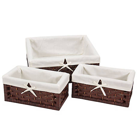 Household Essentials 3-Pc. Paper Rope Utility Basket Set-Brown, ML-7021