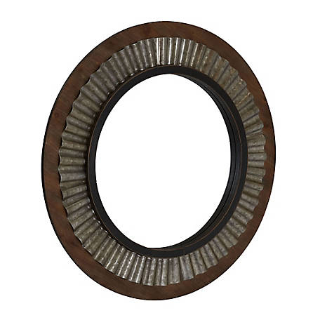 Household Essentials Wood Framed Sunburst Metal Mirror, 2385-1