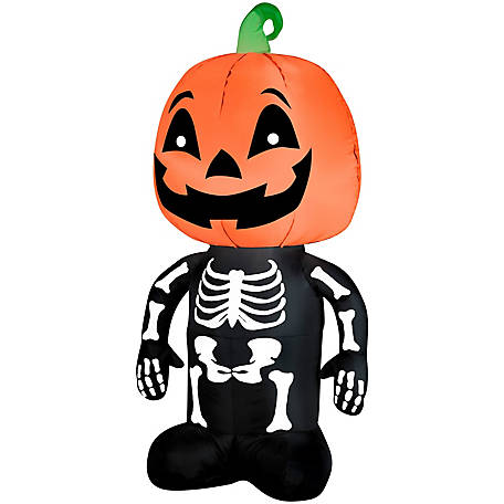 Gemmy Airblown-Outdoor Pumpkin Boy Skeleton, G-64929