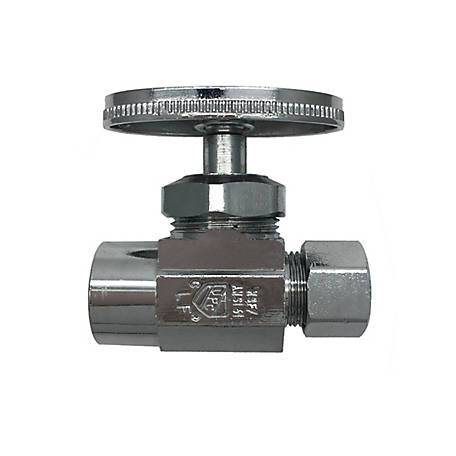 THEWORKS Multi-Turn Straight Stop Valve 1/2 in. SWT Inlet x 3/8 in. O.D. Compression Outlet, MTS121