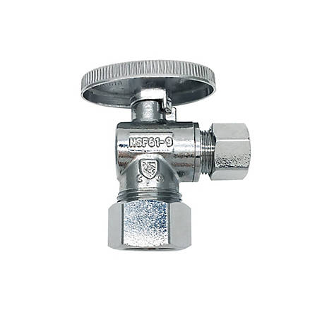 THEWORKS Quarter-Turn Angle Stop Valve 5/8 in. O.D. Compression Inlet x 3/8 in. O.D. Compression Outlet, QTS102