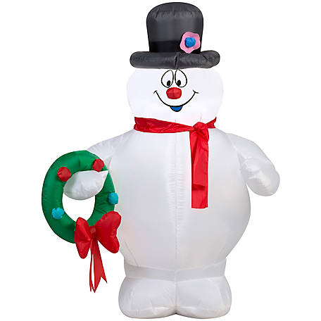 Gemmy Airblown Frosty Holding Wreath Christmas Inflatable, G-39909