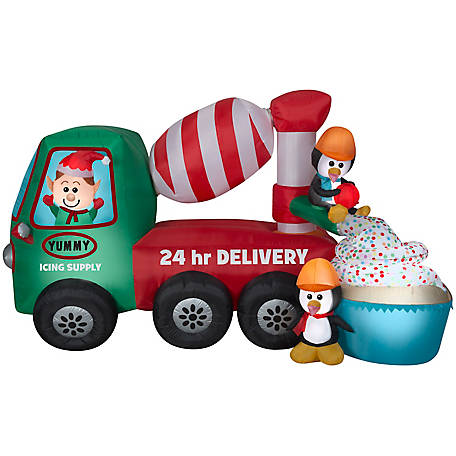 Gemmy Animated Airblown-Cement Mixer Scene Christmas Inflatable, G-12511