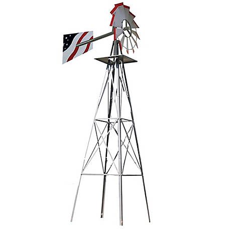 SMV Industries Silver with American Flag Accent 8 ft. Windmill, 48A-F