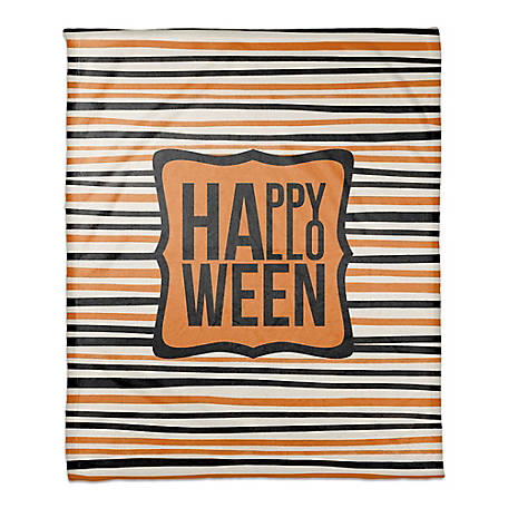 Designs Direct Halloween Stripes 50 x 60 Throw Blanket, 5685- x