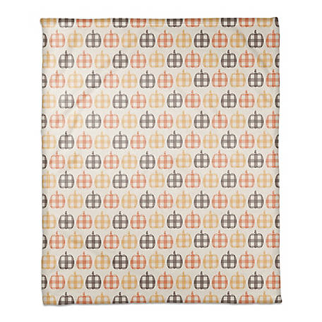 Designs Direct Plaid Pumpkin 50 x 60 Throw Blanket, 5811-BC