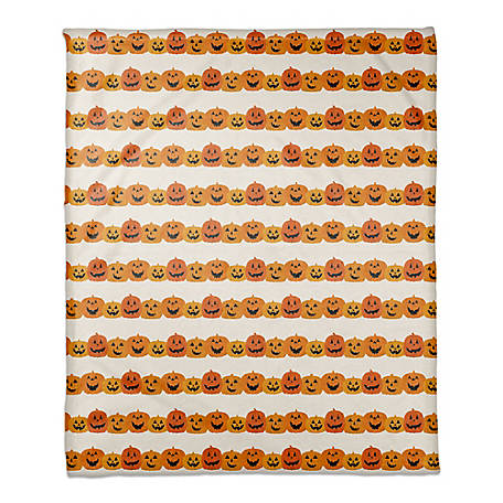 Designs Direct Pumpkin Pattern 50 x 60 Throw Blanket, 5811-BE