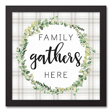 Designs Direct Family Gathers Here 12 x 12 Framed Canvas, 5675-O