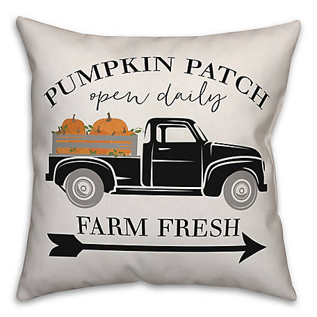 Designs Direct Pumpkin Farm Truck 18 x 18 Pillow, 5735-AA2