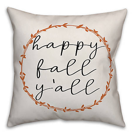 Designs Direct Happy Fall Yall 18 x 18 Pillow, 5735-AG2