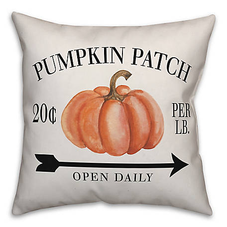 Designs Direct Pumpkin Patch Open Daily 18 x 18 Pillow, 5735-AQ2