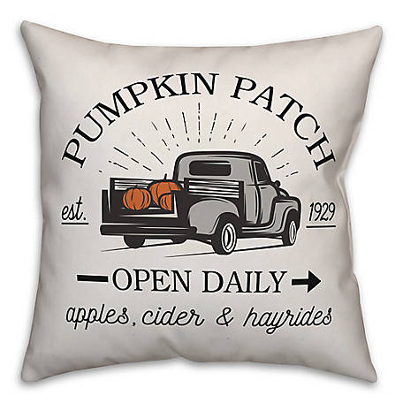 Designs Direct Pumpkin Patch Vintage Truck 18 x 18 Pillow, 5735-AR2