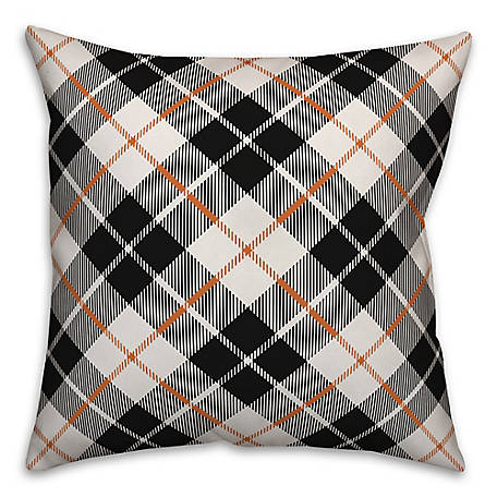 Designs Direct Fall Plaid Black 18 x 18 Pillow, 5735-BD2