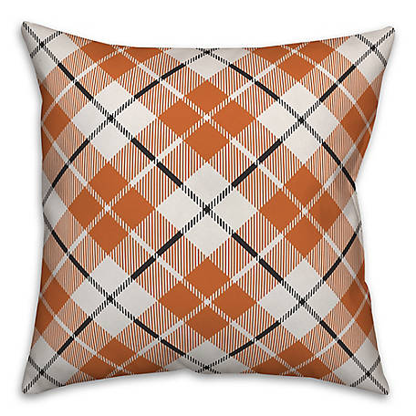 Designs Direct Fall Plaid Orange 18 x 18 Pillow, 5735-BD5