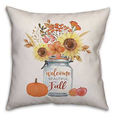 Designs Direct Welcome Beautiful Fall 18 x 18 Pillow, 5750-AB2