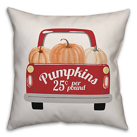 Designs Direct Red Pumpkin Truck 18 x 18 Pillow, 5750-V2