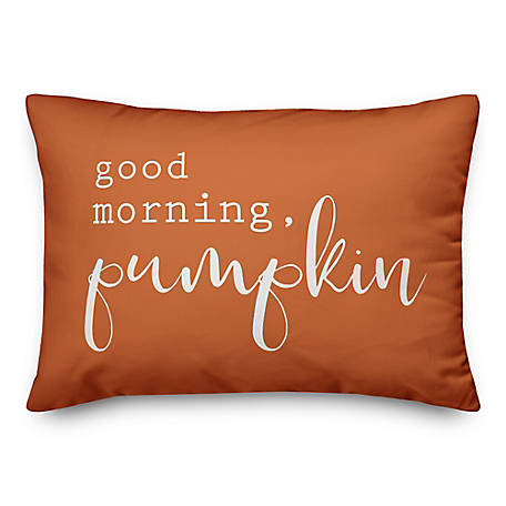 Designs Direct Good Morning Pumpkin Orange 14 x 20 Pillow, 5735-S2