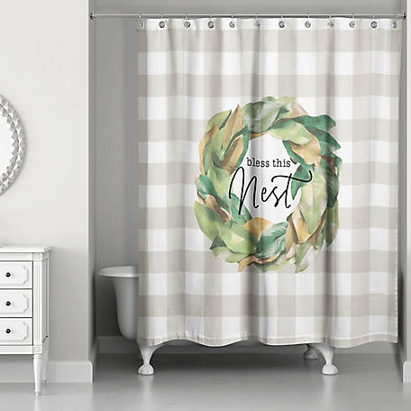 Designs Direct Bless This Nest Shower Curtain, 5676-AO