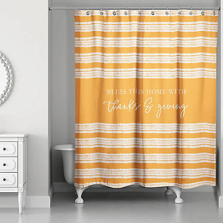 Designs Direct Thanks & Giving Shower Curtain, 5750-BL