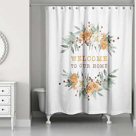Designs Direct Welcome Fall Floral Shower Curtain, 5750-BM