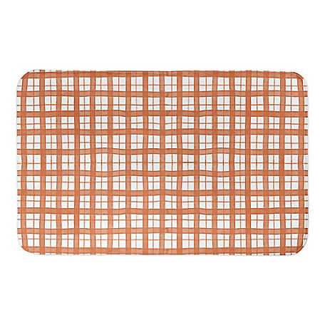 Designs Direct Orange Plaid 34 x 21 Bath Mat, 5735-BK