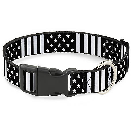 Buckle-Down I Can Flag Closeup Black/White Dog Collar, PC-W30132-S