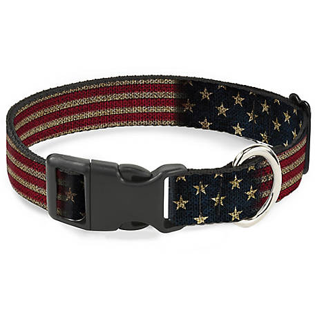 Buckle-Down Dog Collar Vintage U.S. Flag Stretch, PC-W32210