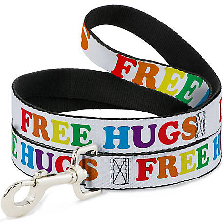 Buckle-Down Dog Leash Free Hugs White/Multi Color, DL-W30626