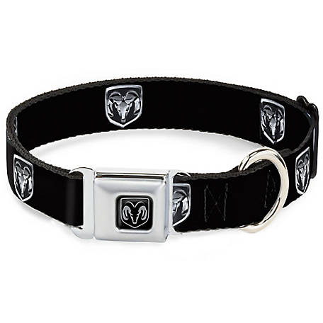 Buckle-Down Dodge Ram Logo Black Seat Belt Buckle Dog Collar, DC-WDR001