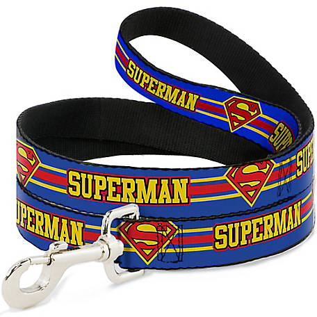 Buckle-Down Superman Shield Stripe Blue/Yellow/Red Dog Leash, DL-6FT-WSM060