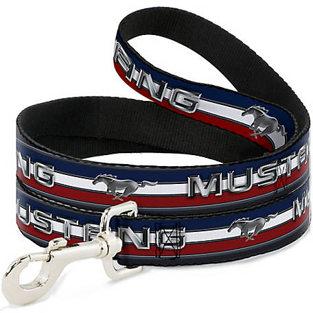 Buckle-Down Ash 6 ft. Mustang.Text with Tribar Stripe Dog Leash, DL-6FT-WFM013