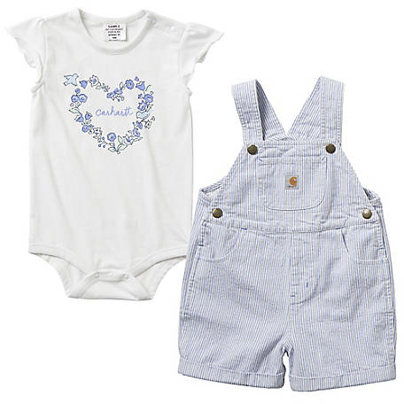 Carhartt Girls' Infant  Shortall Set, CG9725 L14