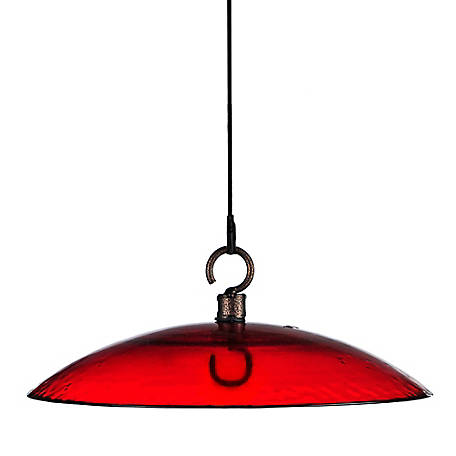 Mosaic Birds 11 in. Glass Weather Dome, Red, M383-200-06