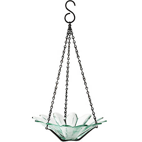 Mosaic Birds 8 in. Hanging Daisy Glass Bird Feeder, Clear, M353-200-00
