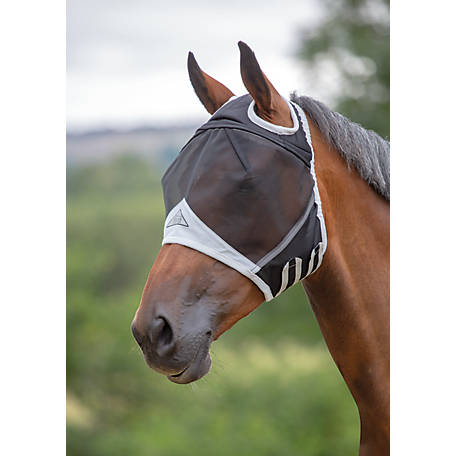 Shires Fine Mesh Fly Mask Ears Fringe, 6664-BLK-P