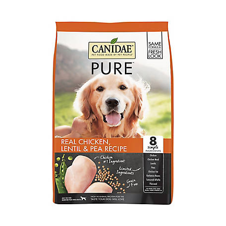 CANIDAE Grain Free PURE Real Chicken, Lentil & Pea Recipe Dry Dog Food Formula, 24 lb.