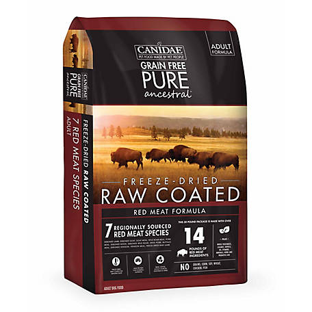 CANIDAE Grain Free PURE Ancestral Raw-Coated Red Meat Dog Food,20 lb. 1854