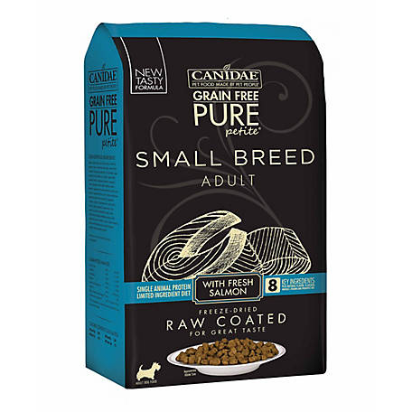 CANIDAE Grain Free PURE Petite Pet Small Breed Raw-Coated Adult Salmon Dry Dog Food, 4 lb. 1879