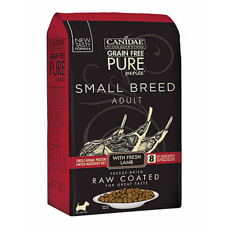 CANIDAE Grain Free PURE Petite Pet Small Breed Raw-Coated Adult Lamb Dry Dog Food, 10 lb. 1885
