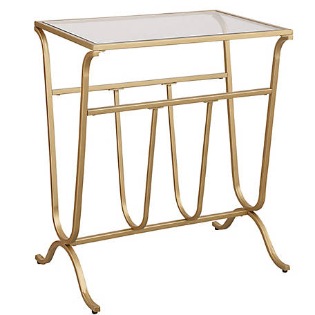 Carolina Chair & Table Carlisle Glass Top Mag Rack Accessory Table, Gold, CL1324G-GLD,