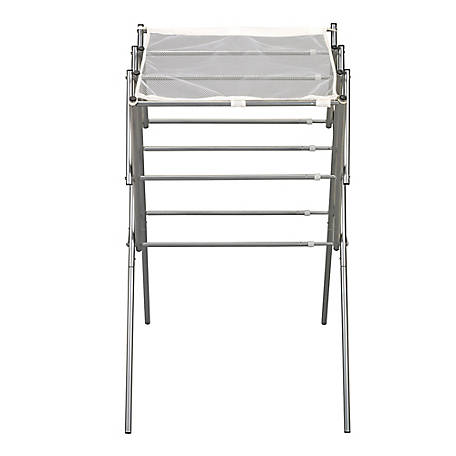 Household Essentials Expandable Clothes Drying Rack Silver, 5127