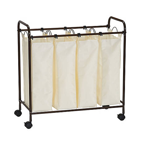 Household Essentials Rolling Quad Laundry Sorter Antiq Bronze, 7173