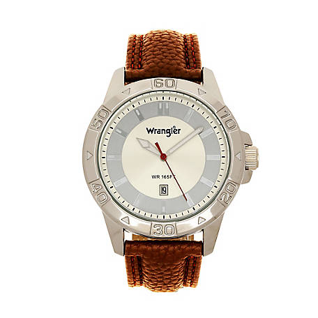 Wrangler 46MM Silver Case Grey Gold Dial Brown Strap, WRW4602-7B5