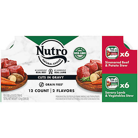 NUTRO Grain Free Wet Dog Food Cuts in Gravy Lamb & Beef Variety Pack, 12 ct., 3.5 oz. Trays, 2.64 lb.