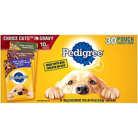 Pedigree HOICE CUTS IN GRAVY Adult Wet Dog Food 30 ct. Variety Pack, 3.5 oz. Pouches, 6.6 lb.