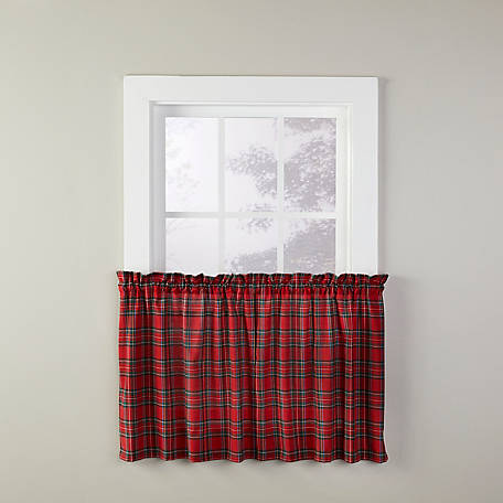 SKL Home Fireside Plaid 24 in. Tier Pair Curtains, V7041000R24T09