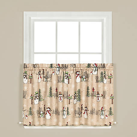 SKL Home Snowman Land 36 in. Tier Pair Curtains, T0526900036T09